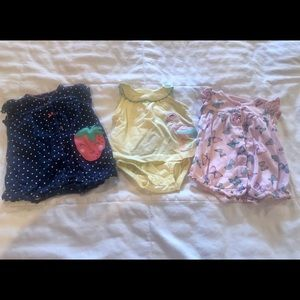 3 baby girl Carter's rompers-size 3 months